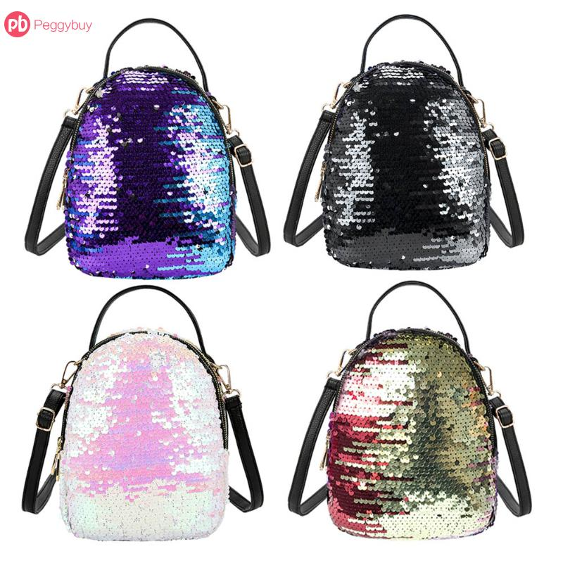 2018 Fashion New Women Sequins Backpacks Multi-functional Three Sequin Small Travel Backpack Casual Simple Small Rucksack