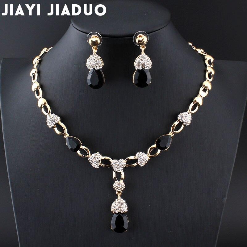 Hochzeits- & Verlobungs-schmuck Jiayijiaduo Silber Farbe Frauen Hochzeit Schmuck-set Kristall Halskette Ohrringe Abendkleider Zubehör Termine 4 Teile