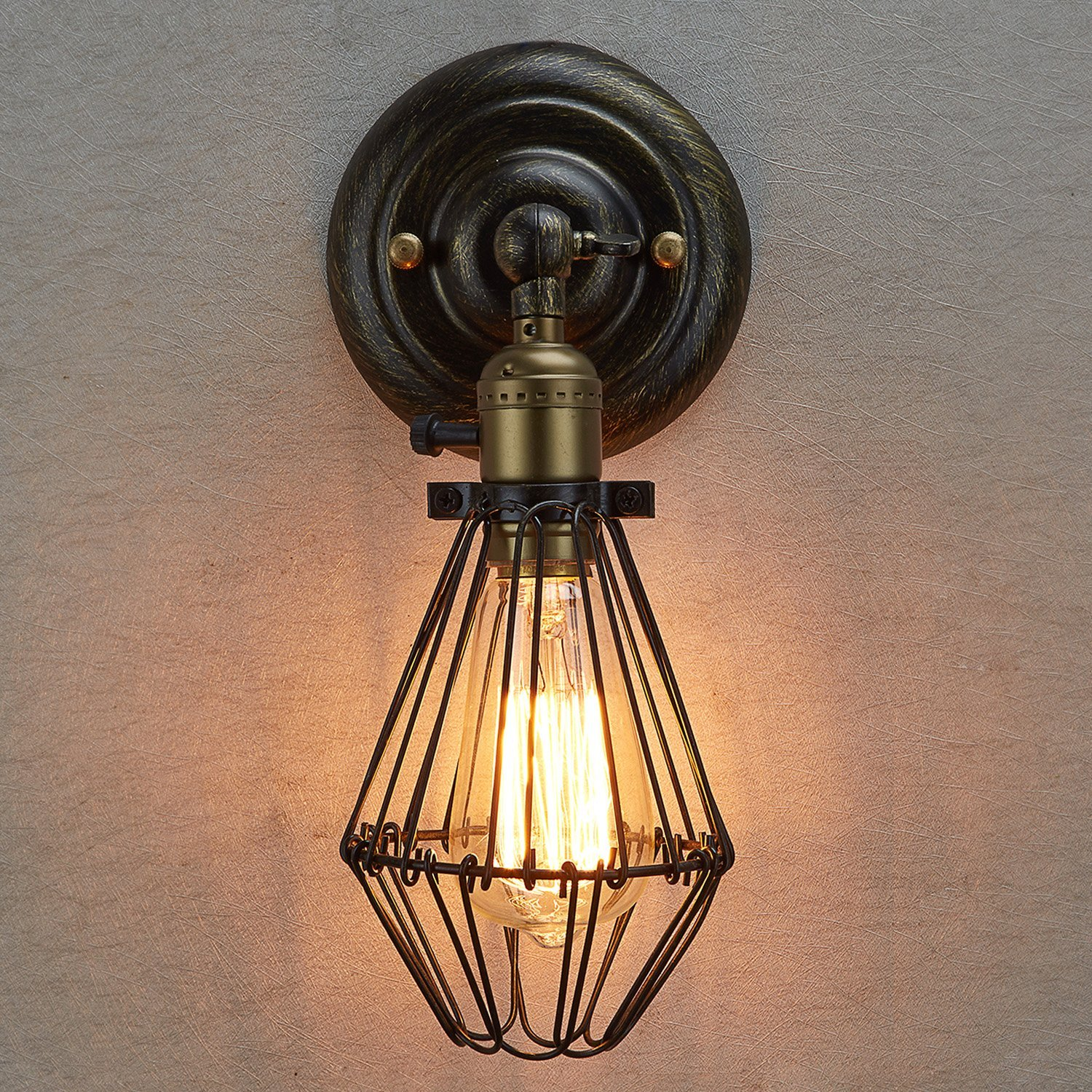 Special vintage style industrial edison ceiling lamp w bulb old - Ecopower Vintage Style Industrial Opening And Closing Light Wall Sconce Cage Lamp Guard 1