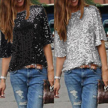 Fashion Women Summer Loose Top Half Sleeve Sparkle Glitter Blouse Ladies Casual Loose Sequined Pullover Tops Blouse Black Sliver