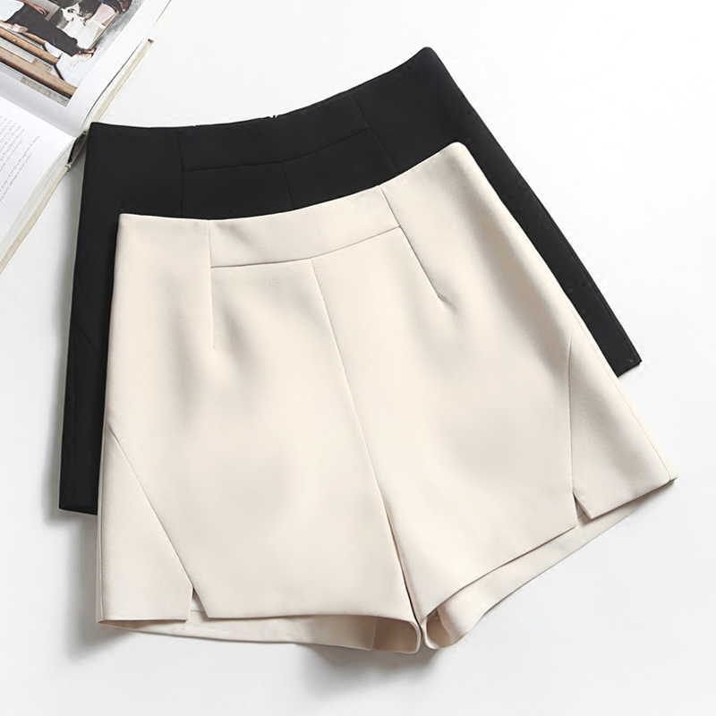 Elegant slim   shorts   women black white apricot slit   shorts   spring summer high waist wide leg a line   short   feminino korean   shorts