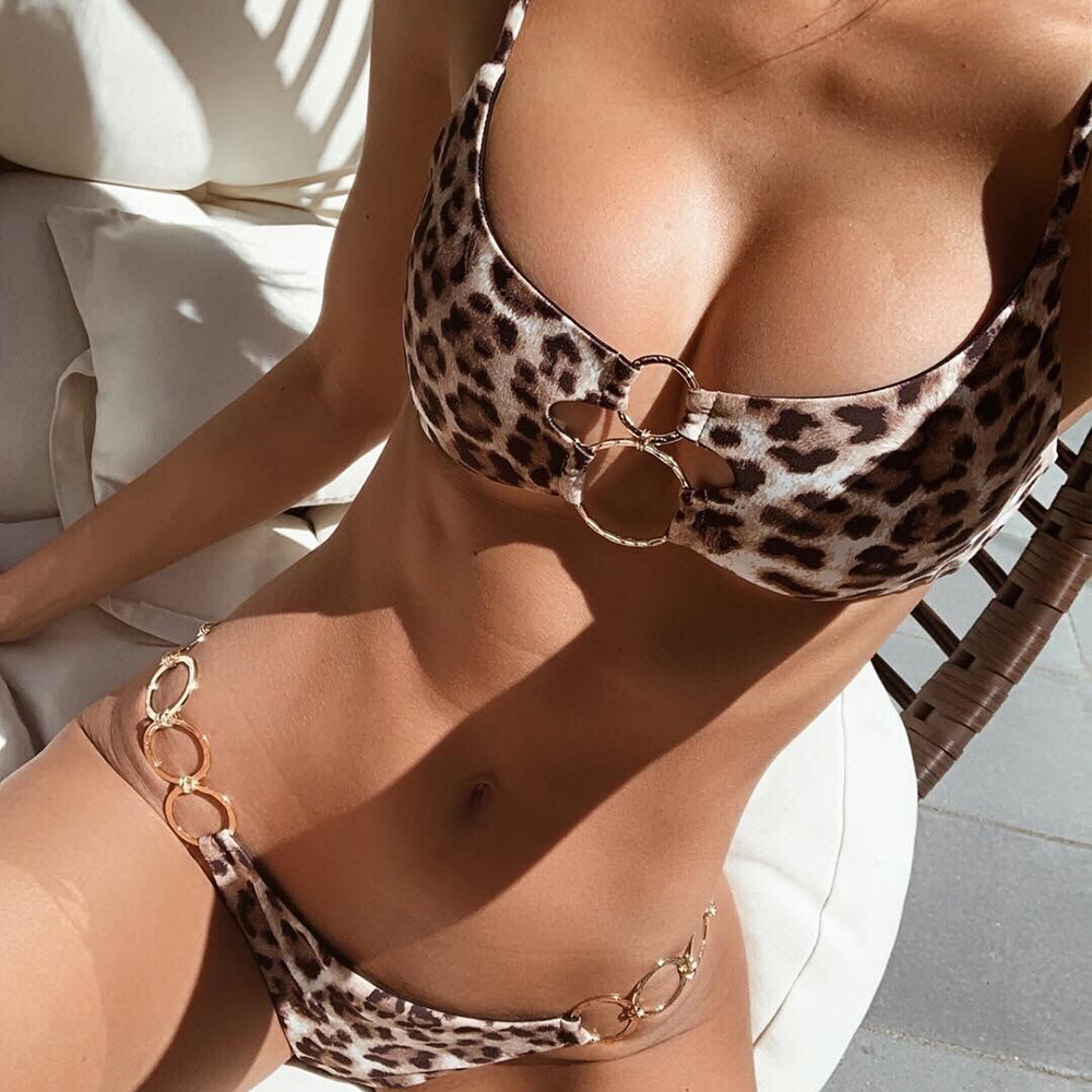 Solid Micro Bikini Rings Swimsuit Thong Leopard Swimwear Women Brand Style Bikini Sexy Swimsuit Bathing Suit Hot Bikinis 2019