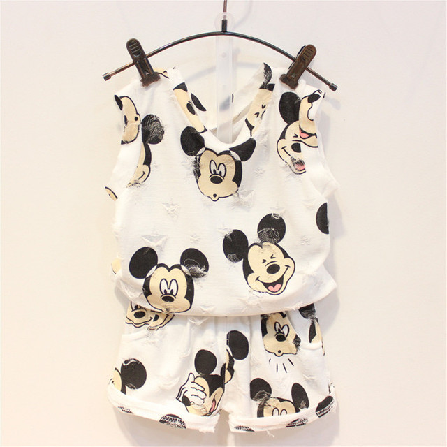 2016 Summer new children clothing sets Fashion cartoon mouse shirts + short pants 2 pieces sets for kids girls summer outfits