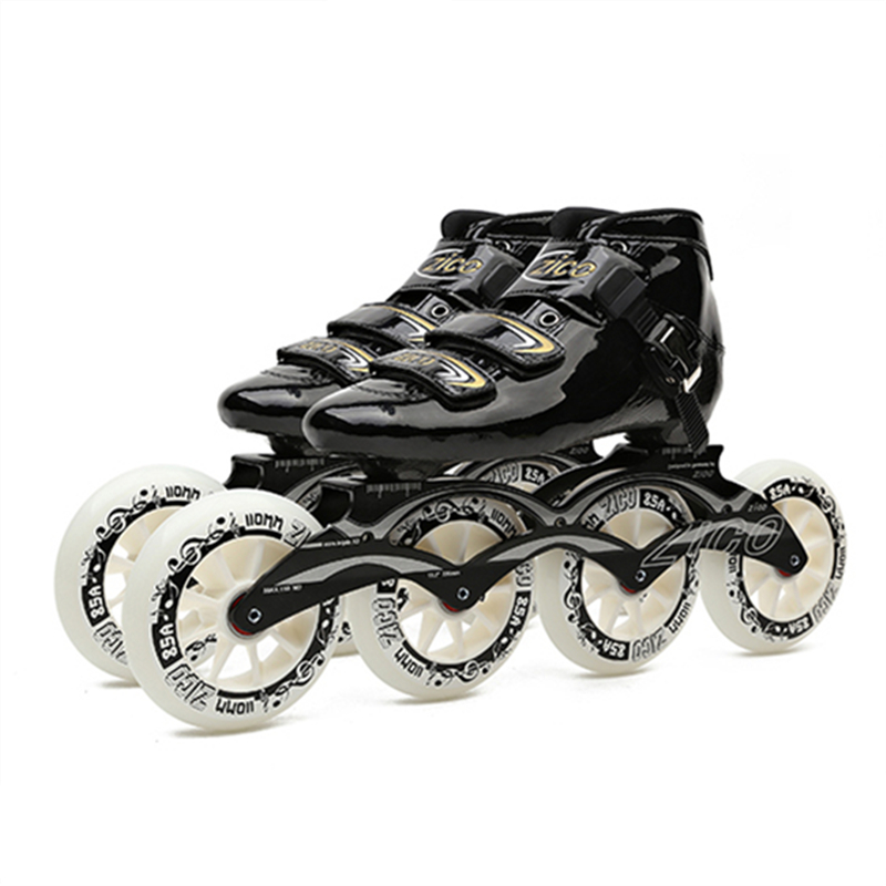 Advanced Carbon Fiber Inline Skates Boot 7075 Alloy CNC Frame 85A Durable PU 110mm 100mm 90mm Roller Skating Wheels Track Racing