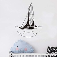 Funny Scenery Wall Sticker Living Room Decorative Nautical Sailboat Silhouette Wall Decal Vinyl Removable Diy Home Decor