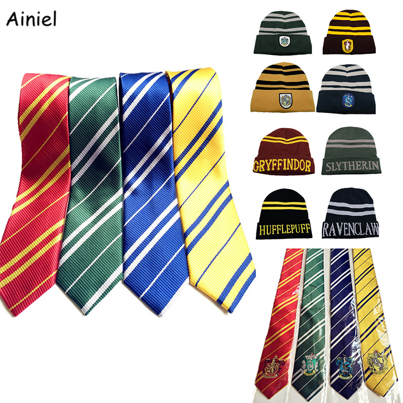 Ainiel  Hogwarts School Hat Tie 30 PCS LOT Hufflepuff Ravenclaw Gryffindor Slytherin Cap Cosplay Costume Hermione Men Women Boys