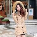 Alta Qualidade 2015 jaqueta de Inverno mulheres grosso quente casacos capuz de pele das Mulheres para baixo parkas jaqueta de algodão feminino casacos longos Q314