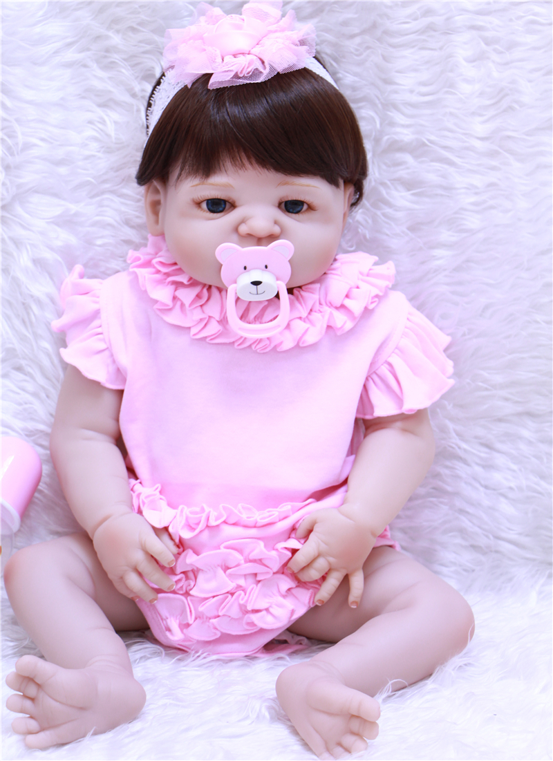 bebe girl doll reborn babies silicone dolls reborn 55cm baby dolls Pink dress baby born for girls Toys bonecas Christmas gift 22inch 55cm silicone vinyl reborn baby dolls fashion bebe princess reborn girl dolls toys with red dress set bonecas