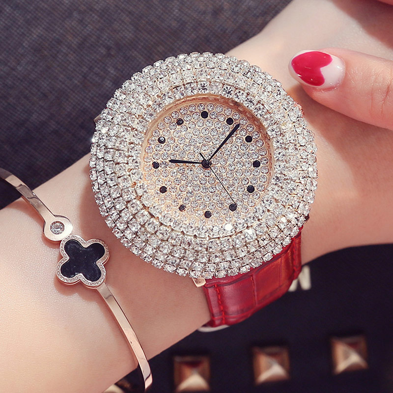 2017 Full Crystal Luxury Quartz Ladies Watch Women Leather Brand Steel Rhinestone Fashion Design Dress Wristwatches Cusual Clock kimio brand luxury blue crystal women ladies watch silver steel band dress wacth japan quartz wristwatches