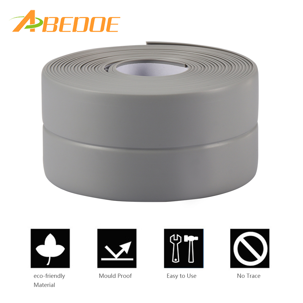 Abedoe 38mm*3.2m Waterproof Kitchen Sealing Strip Diy Self Adhesive Anti-moisture Pvc Sealant Tape For Bath Wall Basin Sink Edge Wall Stickers Home & Garden