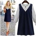 Large size 2016 New Autumn Fashion Women Dress V-Neck Stripe Stitching Long-Sleeved Ladies Dress