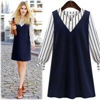 Large Size 2016 New Autumn Fashion Women Dress V Neck Stripe Stitching Long Sleeved Ladies Dress