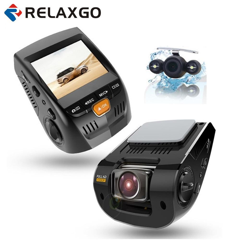 Relaxgo 2.4 Car Camera Mini Dash Cam Novatek Car DVR Full HD 1080P Dual Len Super Night Vision Video Recorder 170 Wide Ange