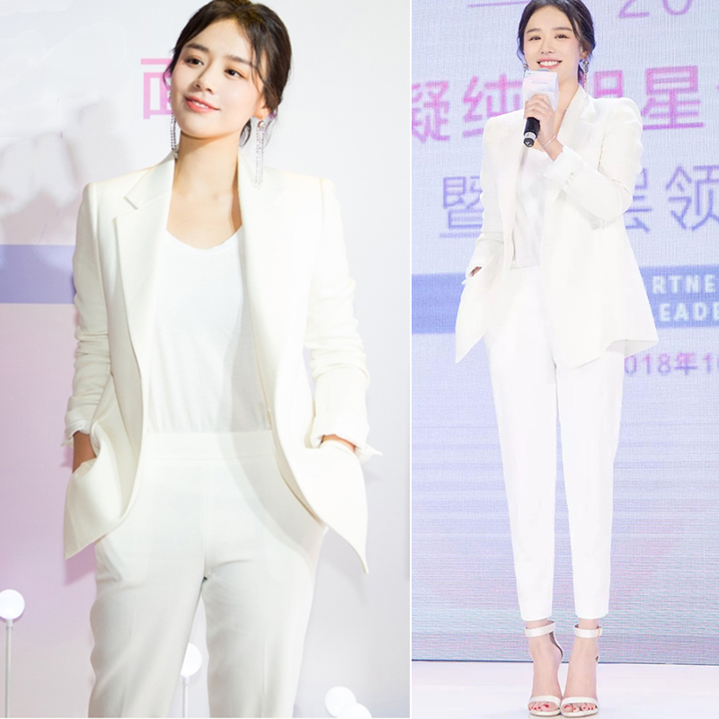 Women suits office sets Casual high quality elegant white blazer 2019 autumn new women's suit Trousers and jacket set