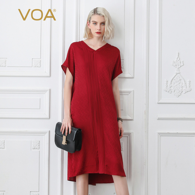 0dfd46997994 VOA Vintage Red Casual Silk Dress Women V Neck Loose Robe Batwing Sleeve  Midi Dresses Ladies