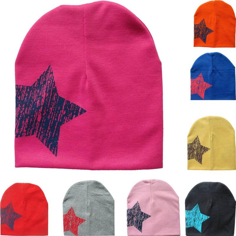 2018 Print Star Baby Beanie For Boys Girls Cotton Knit Hat Children Winter Hats