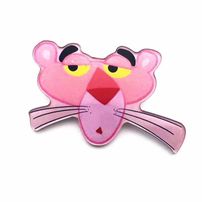 1 шт., розовые Броши с рисунком Пантеры для женщин, детская юбка-карандаш с отворотом, сумки, платье, Декоративные Значки, подарок для детей