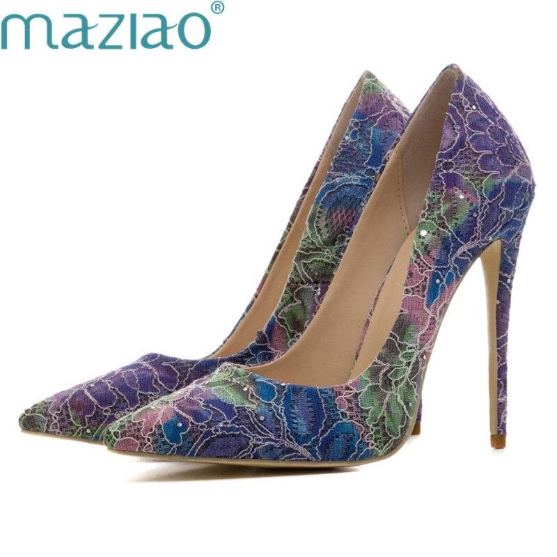 Pointu Partie Profonde La Peu Femelle Bouche Vintage Bout Chaussures Dames Romain Taille Plus Amende Talon rose De Bleu Style Maziao Paillettes nO0XkwP8