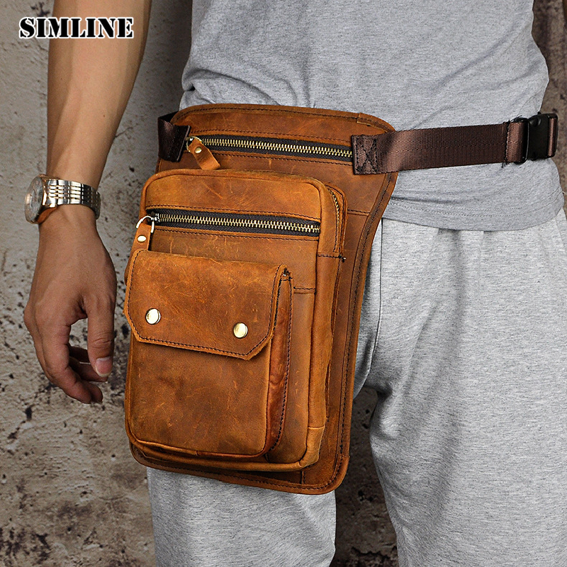 SIMLINE Brand Vintage Casual Genuine Leather Cowhide Men Mens Male Large Capacity Waist Pack Shoulder Crossbody Bag Bags For Man simline vintage casual 100% genuine leather cowhide men belt waist bag pack packs small shoulder messenger crossbody bags pouch