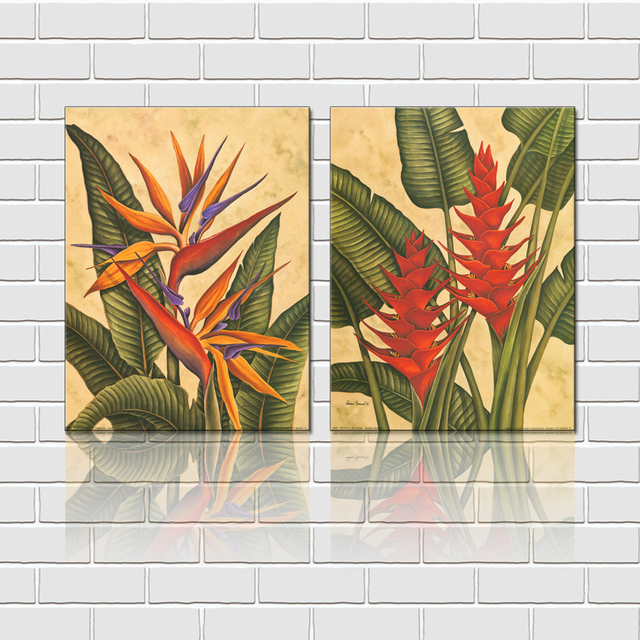 Free Shipping 2 Pieces Wall Art Set Tropical Flowers Canvas Prints For Home Goods Decoration