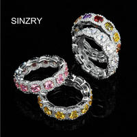 NEW AAA Cubic Zircon Micro Paved 925 Sterling Silver Simulated Gemstone Wedding Ringsfor Women Jewelry Gift
