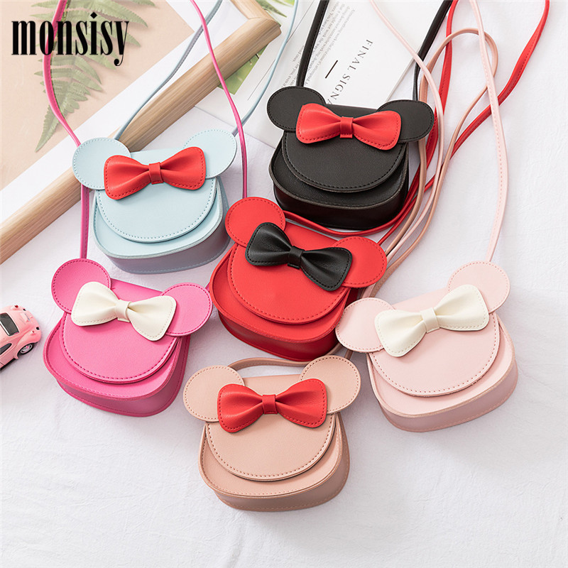 Monsisy 2019 Girl Coin Purse Handbag Children Wallet Small Coin Box Bag Cute Mouse Bow Kid Money Bag Baby Shoulder Bag Purse