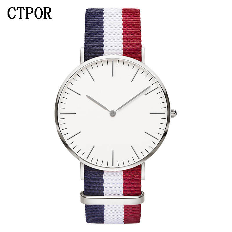 2018 New CTPOR Watches For Men Women Ultra Slim Quartz Watch With Simple Nylon Band Relogio Masculino Fashion Wristwatches Clock