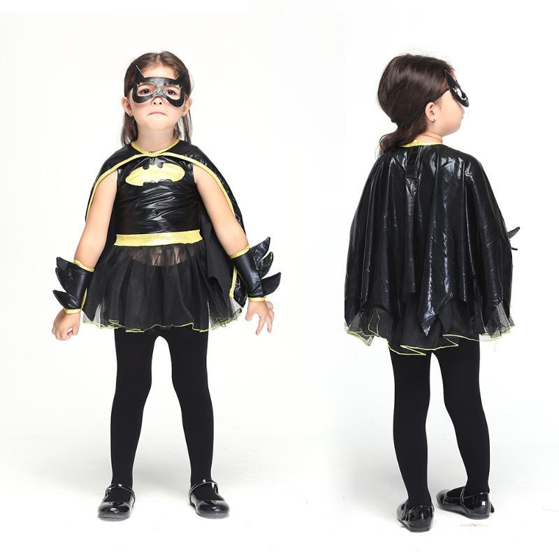 Cool Bad Girl Dresses Set Black Child Animal Cosplay Cute Bat Costume Kids Halloween Clothes for Girls Best Gift halloween skeleton style cosplay costume face mask gloves set black white