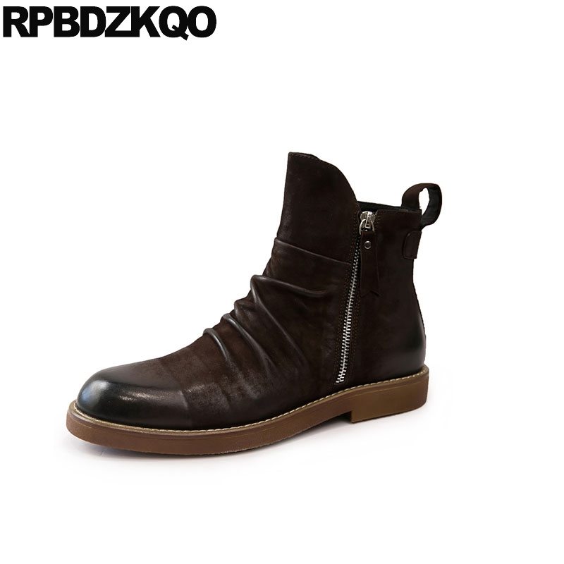 ankle high quality 2018 real leather genuine designer brown autumn zipper men luxury black fall full grain boots short shoesankle high quality 2018 real leather genuine designer brown autumn zipper men luxury black fall full grain boots short shoes