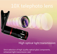 Mobile Phone Lens 10x Metal Telephoto Universal Telescopic Lens Zoom HD Lens