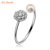 Shell Pearl Real Pure Solid 925 Sterling Silver Bangles For Women Jewelry Flower Cubic Zircon Female
