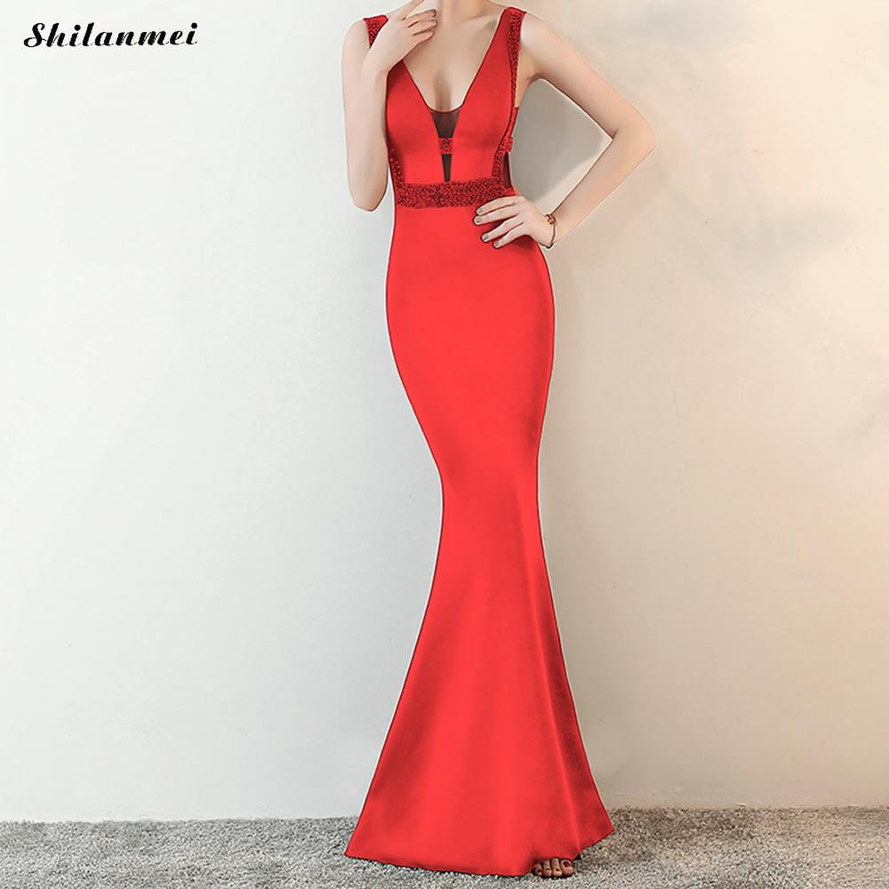 ab2dd5d21a70 Elegant Womens Fashion Sequin Sexy Deep V Neck Hollow Out Long Maxi Dress  Pink Red Backless