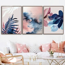 Abstract Watercolor Leaves Canvas Paintings Print Nordic Blush Pink Pictures for Living Room Home Decor Botanical Wall Art(China)