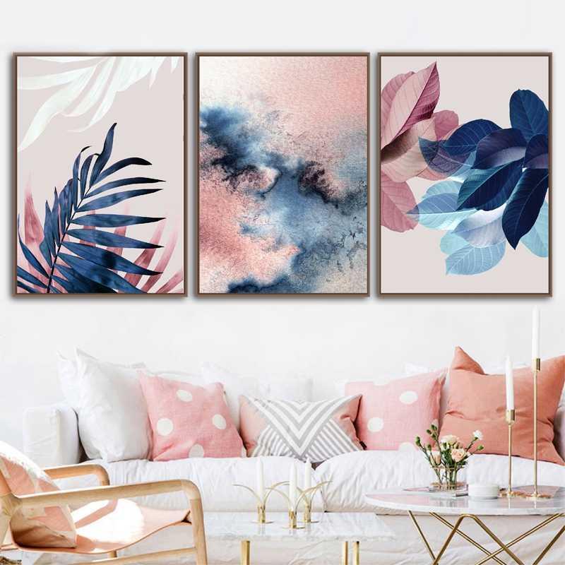 Abstrakcyjna akwarela pozostawia obrazy na płótnie drukuj Nordic Blush różowe zdjęcia do salonu Home Decor botaniczny Wall Art