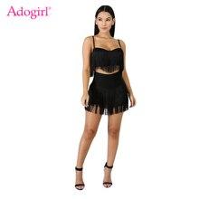 Adogirl Tassel Spaghetti Straps Two Piece Set Women Fashion Sexy Hammock Crop Top + Mini Skirt with Panties Clubwear