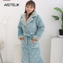 3e8b489a17 New ladies pajamas winter dressing gown thick three-layer quilted pajamas  women coral fleece warm