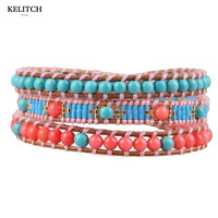 KELITCH Jewelry Latest Design 3 Strand Leather Chain Natural Stone Bright Crystal Beaded Handmade Bracelet Cardboard