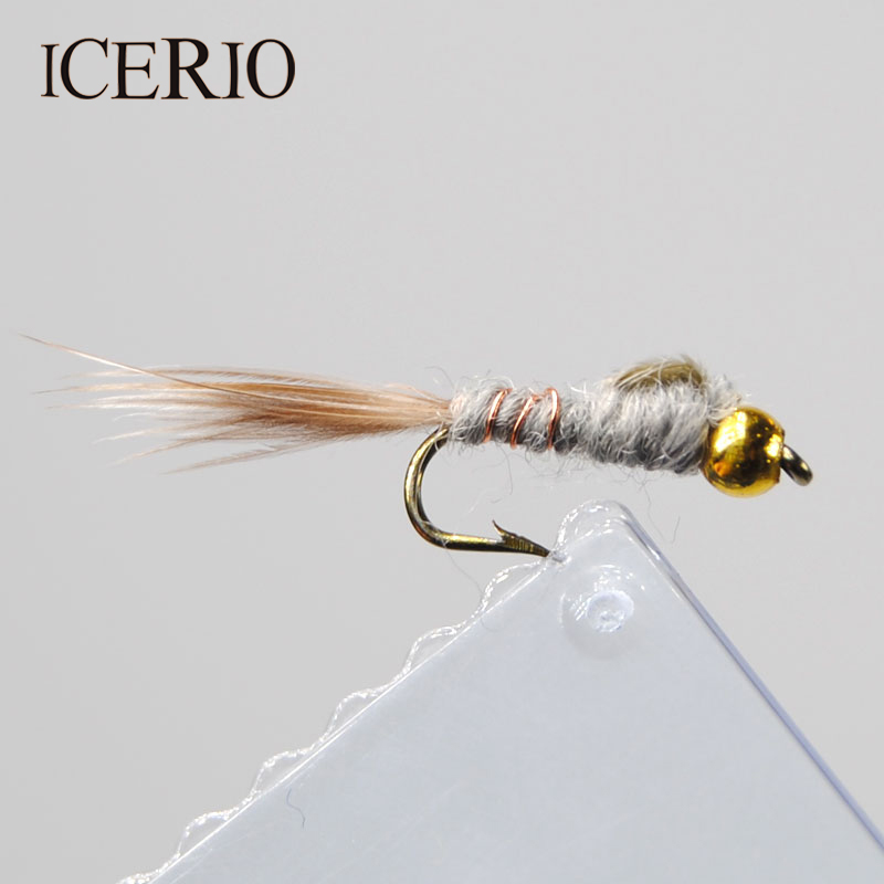 ICERIO 12PCS #12 Bead Head Grey Hare's Ear Nymphs Trout Fly Fishing Lures