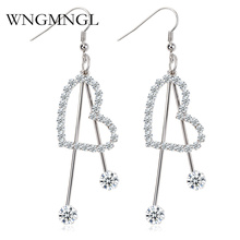 WNGMNGL New Hot 2018 Heart Dangle Earrings for Women Silver Color Rhinestone Long Drop Jewellery Oorbellen brinco