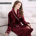 2016 Winter Warm Flannel Bathrobe Coral Fleece Sleepwear Nightwear Long Sleeve Plus Size Female Kimono Robe for Women SY133#10