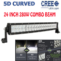 24Inch 280W 5D Cree Chips Curved Combo External LED Light Bar Off-road Driving Lamp Spot+Flood Boat Car Lamps For Jeep Hummer VW