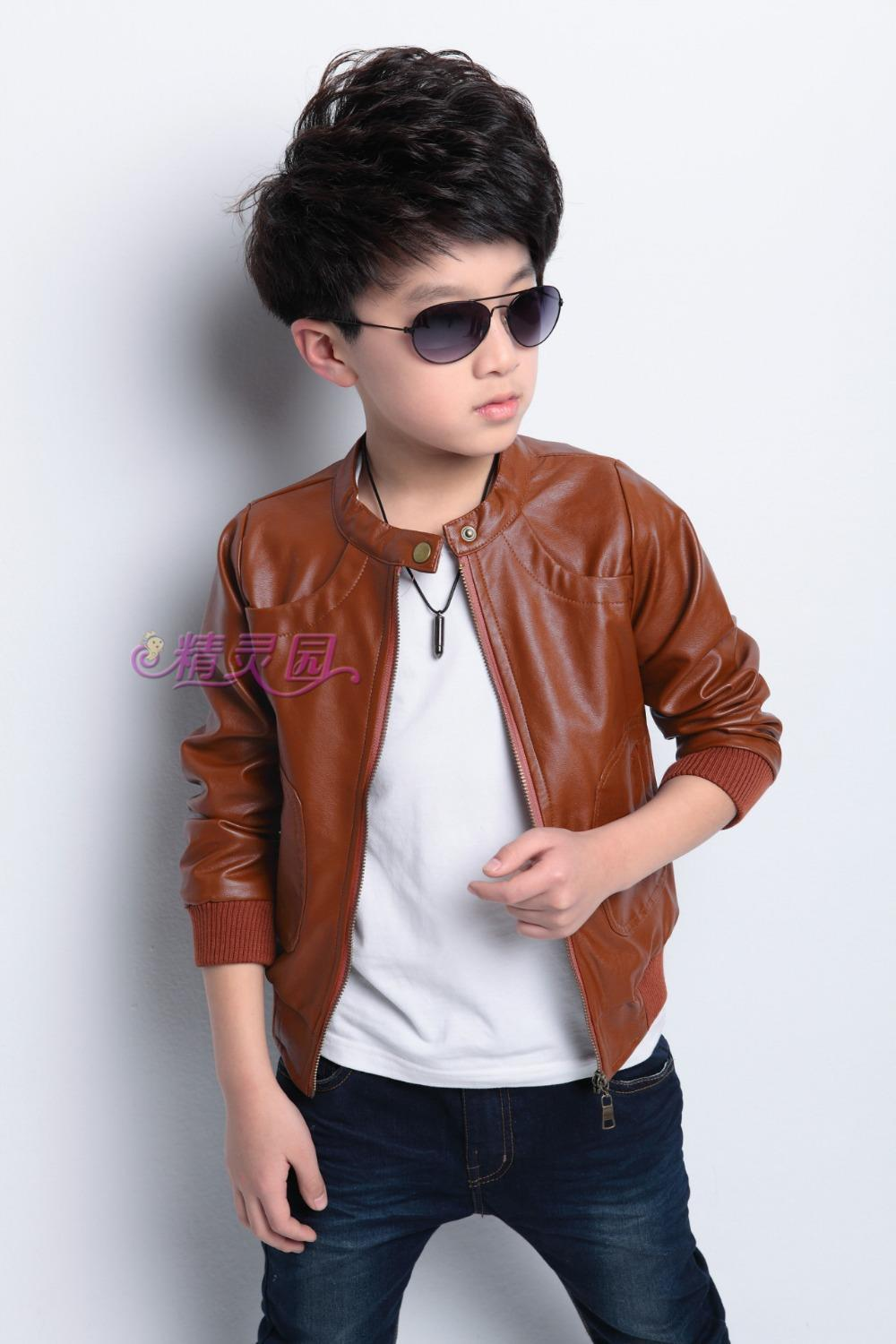 Hot Sale 2015 Spring New Children Outerwear Boys Fashion Leather