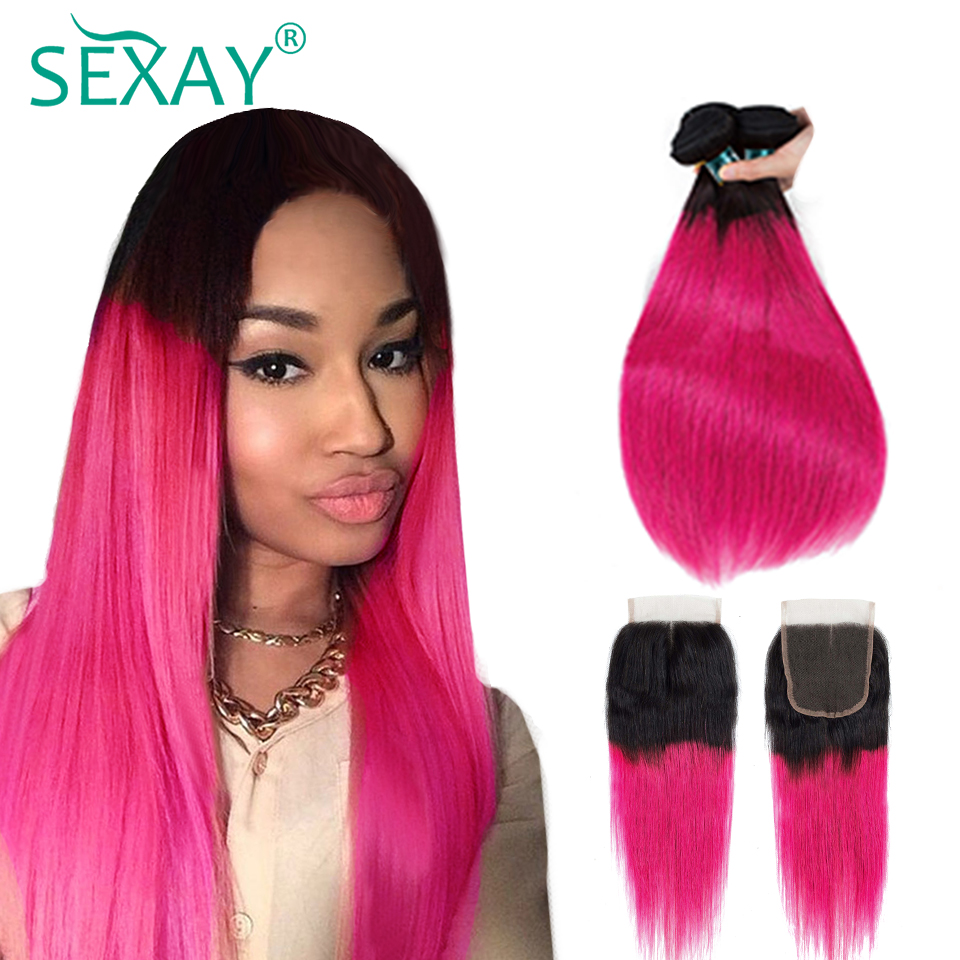 SEXAY Pink Human Hair 3 Bundles With Closure Dark Roots Rose Pink Ombre Brazilian Straight Hair