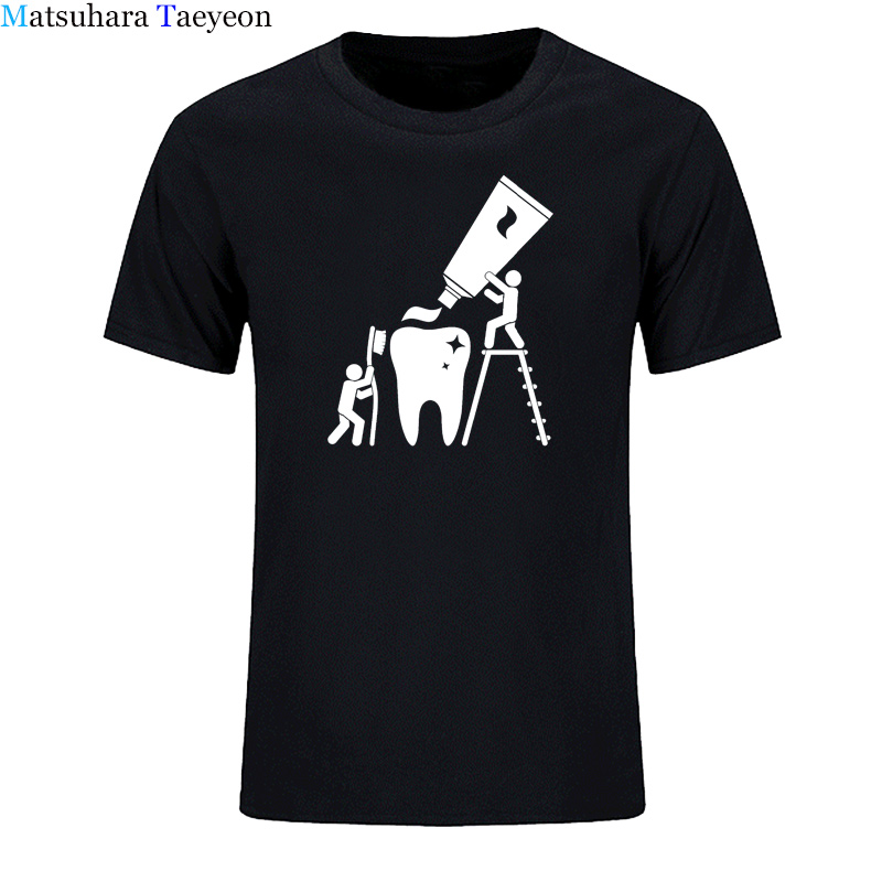 Fashion Classic Men Round Collar Short Sleeve T-shirt Design Man Novelty Cleaning Dentist T Shirt Tops Tees Casual Clothing