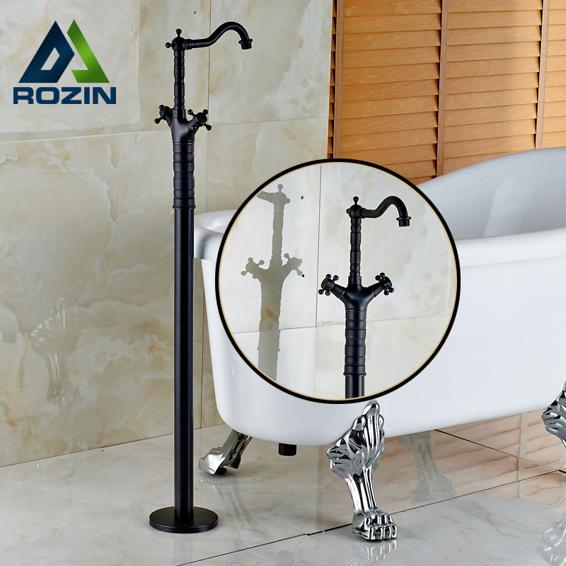 Oil Rubbed Bronze Newly Two Handle Floor Stand Mounted Bathtub Tap Free Standing Bath Shower Mixer Faucet Set newly jade toothbrush holder rack oil rubbed bronze dual cup