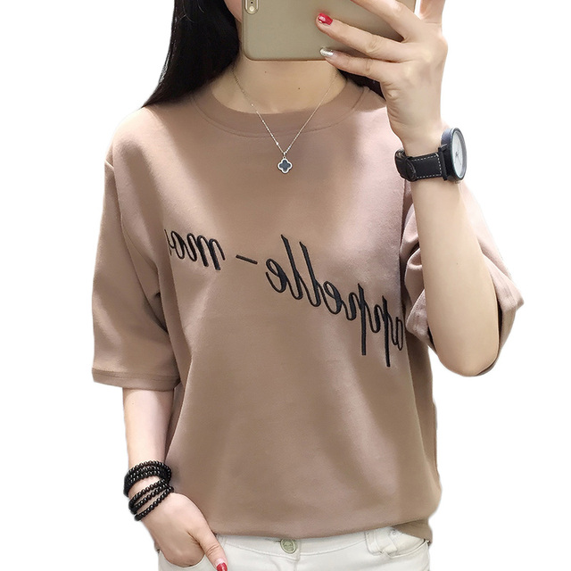 030282e6 Summer women's t-shirt 2018 fashion Korean loose t-shirts female embroidery  shirts women