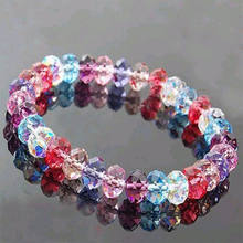 Fashion 1 PCS Women Lady Multi-Color Bracelets Crystal Faceted Loose Beads Bracelet Stretch Bangle Popular Accessories Top Sale(China)