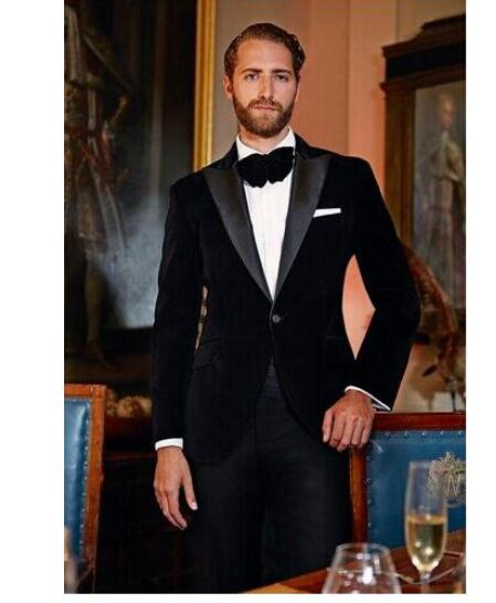 Mens Slim Black Velvet Tuxedo Blazer Groom Tuxedos Men Wedding Dress Bridegroom Suit Best Man Suit (Jacket+Pants)Formal Suit