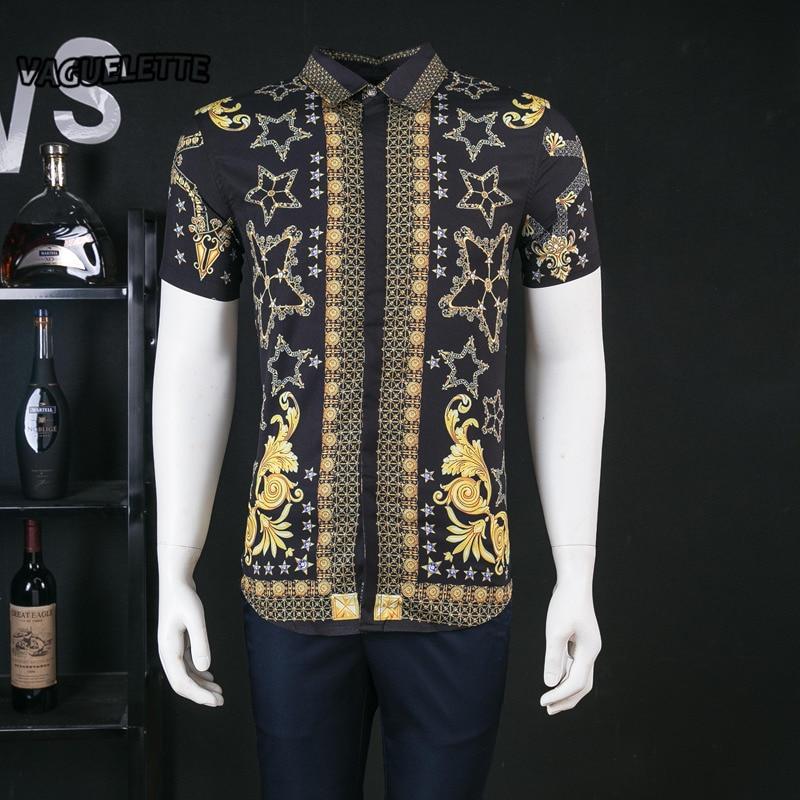 Geometrische Goldene Shirts Kurzarm Sommer Slim Fit Herren Kleidung Drucken  Sterne Luxus Mens Dress Shirts Mode 684951dad1