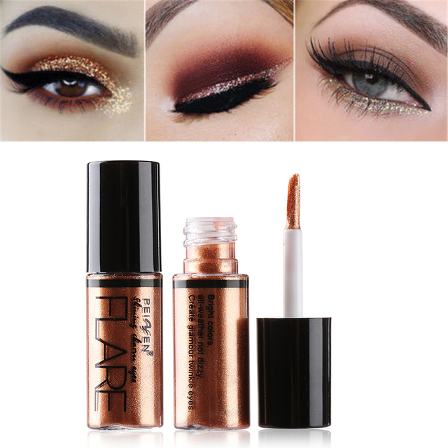 Delineador de Ojos de brillo profesional cosméticos para mujeres pigmento plata Rosa oro líquido brillante delineador de ojos encantador maquillaje